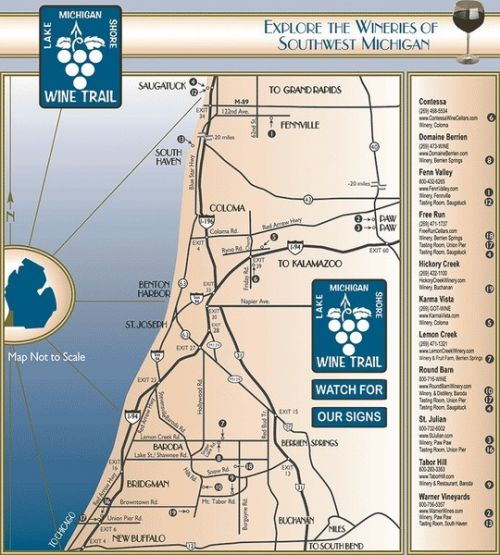 Southwest Michigan Wine Trail Map Michigan Map - Map of southwest michigan